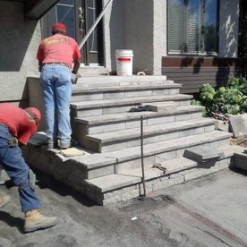 men working on steps